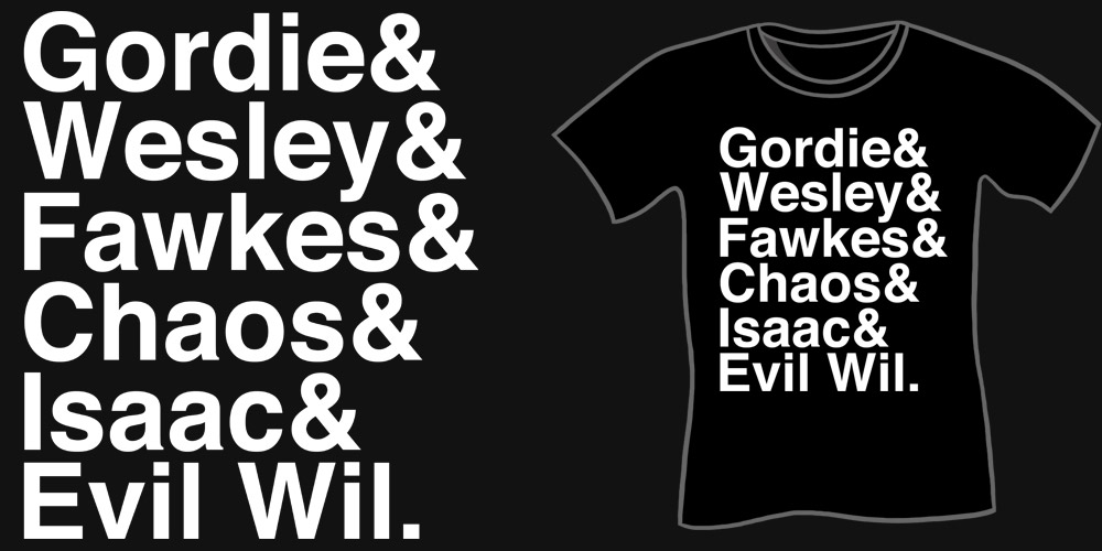 Gordie & Wesley & Fawkes & Isaac & Evil Wil T-Shirt, Funny Geeky Shirts, Nerdy Shirts, Stand By Me, The Guild, Eureka, Big Bang Theory, Wil Wheaton Roles Shirt